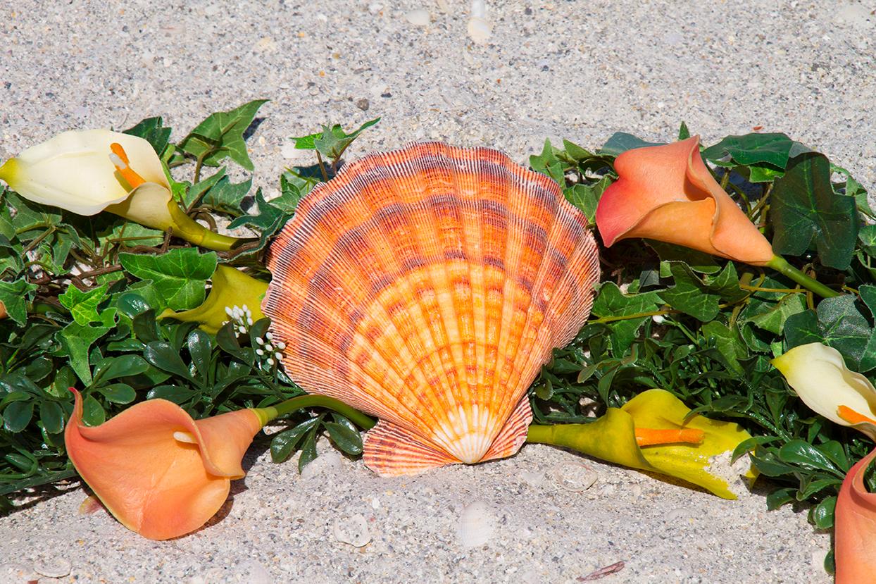 Coral Heart Wreath Altar Detail
