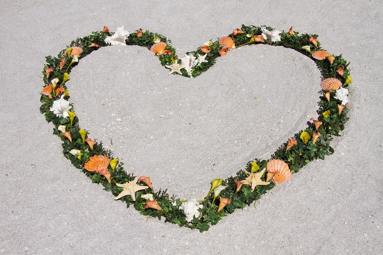 Coral Heart Wreath Altar