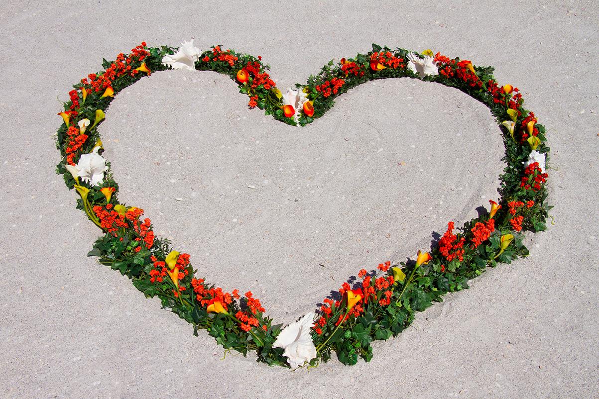 Orange Heart Wreath Altar