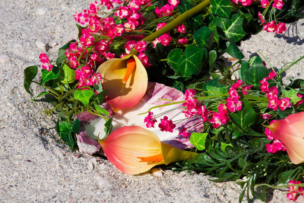 Pink Heart Wreath Altar Detail