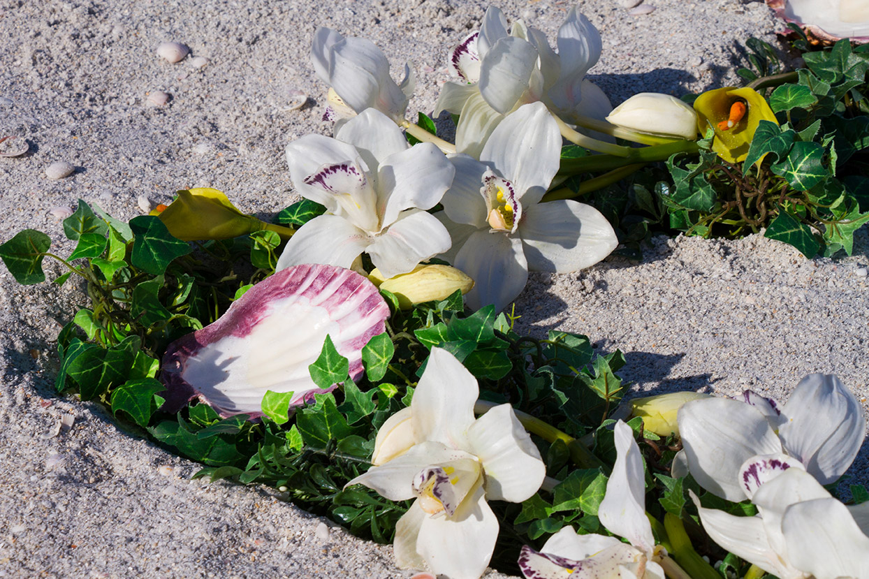 White Heart Wreath Altar Detail